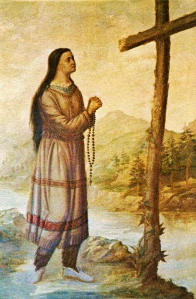 Kateri Tekakwitha. An oil painting by an unknown artist in the Main Chapel, St. Peter's Mission, Fonda NY.