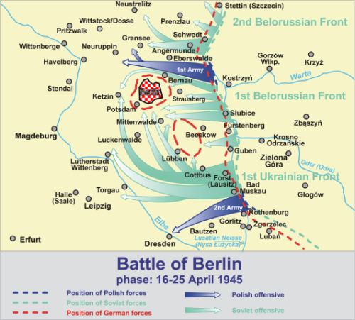 Map of the Battle of Berlin, phase of 16-25 April 1945 based on Praca zbiorowa Boje Polskie 1939-1945 Przewodnik Encyklopedyczny, Bellona, Warszawa 2009