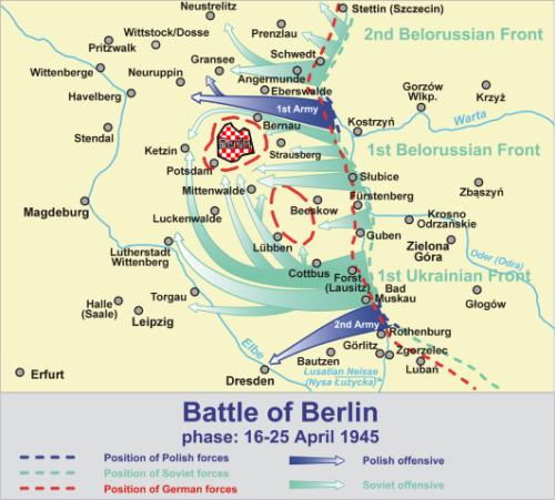 Map of the Battle of Berlin, phase of 16-25 April 1945 based on Praca zbiorowa Boje Polskie 1939-1945 Przewodnik Encyklopedyczny, Bellona, Warszawa 2009
