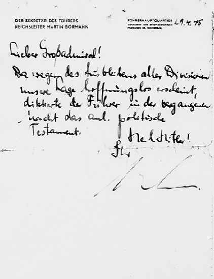 Martin Bormann's note