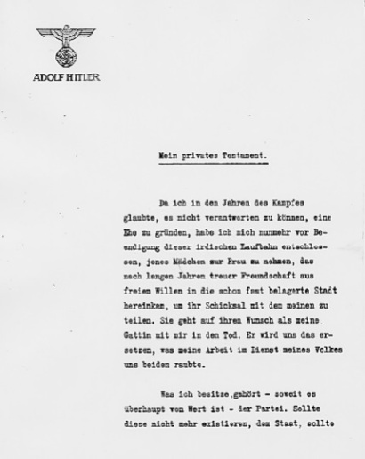 Mein privates Testament - Page 1  (Source: eisenhower.archives.gov)