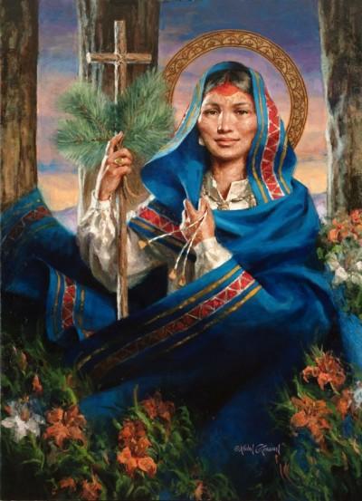 Portrait of Kateri Tekakwitha, painted by Kevin Gordon