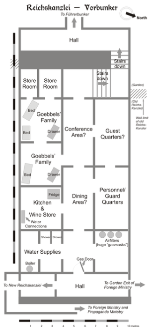 Schematic diagram of the Reichskanzlei-Vorbunker as it was in April 1945 (Source: Dennis Nilsson)