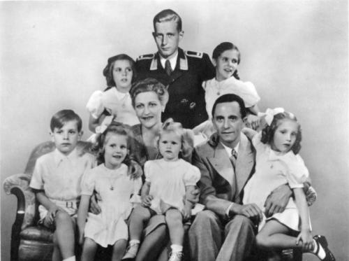 The Goebbels family in 1942: (back row) Hildegard, Harald Quandt, Helga; (front row) Helmut, Hedwig, Magda,  Heidrun, Joseph and Holdine. (Source- Bundesarchiv, Bild 146-1978-086-03-CC-BY-SA)