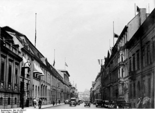 Wilhelmstrasse in 1934, Reich Chancellery and Foreign Office on the left