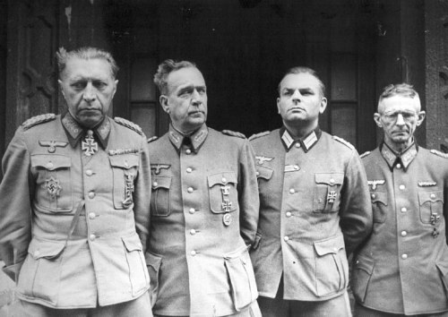 General Helmuth Weidling and other German generals in captivity, Berlin, Germany, on May 2, 1945. (Source: ww2db.com)