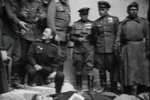 "Click on the image to see the video titled ""Gustav Weler body (Hitler´s double) - Berlin 1945."""