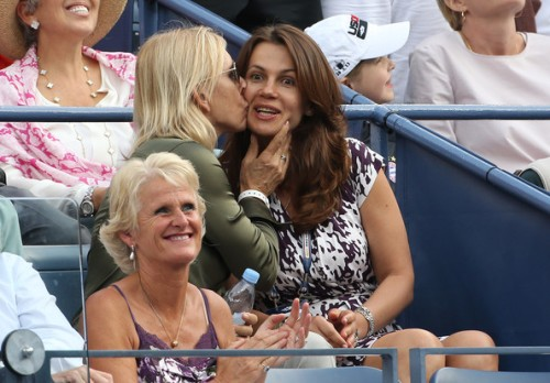Martina Navratilova and her Russian girlfriend Julia Lemigova at the US Open 2013 on September 7, 2013 (Source: PacificCoastNews.com)