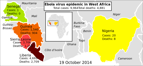 2014 ebola virus epidemic in West Africa (Author: Mikael Häggström)