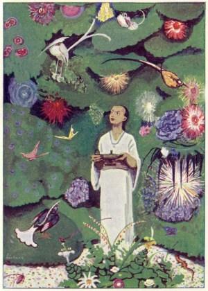 Aladdin in the Magic Garden, an illustration by Max Liebert from Ludwig Fulda's Aladin und die Wunderlampe.