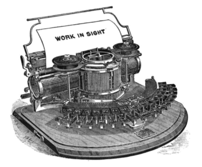 Hammond 1B typewriter, invented in 1870s, manufactured 1881.