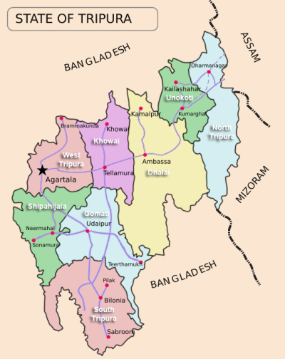 Map of Tripura state, showing its eight districts