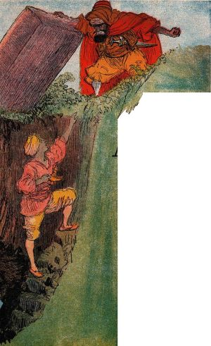 The Sorcerer traps Aladdin in the magic cave. (Aladin - illustré par Albert Robida - Paris - Imagerie merveilleuse de l'Enfance - Illustration de la page 1)