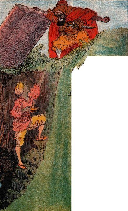 The Sorcerer traps Aladdin in the magic cave. (Aladin - illustré par Albert Robida - Paris - Imagerie merveilleuse de l'Enfance - Illustration de la page 1)