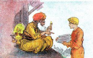 The Sorcerer tricks Aladdin into believing that he is his true Paternal Uncle. (Aladin - illustré par Albert Robida - Paris - Imagerie merveilleuse de l'Enfance - Illustration de la page 4)