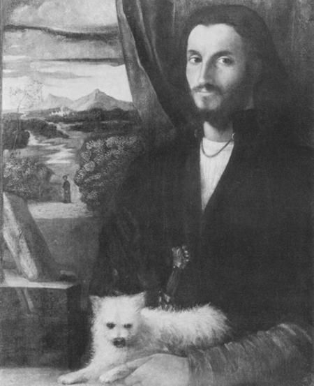 A B&W copy of Leonardo da Vinci attributed to the Italian painter Giovanni Cariani (c. 1490-1547) (National Gallery of Art, Washington).