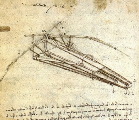 A design for a flying machine (an Ornithopter) by Leonardo da Vinci, (c. 1488) Institut de France, Paris