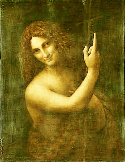 John the Baptist. Salai is thought to have been the model. (c. 1514) — Louvre.