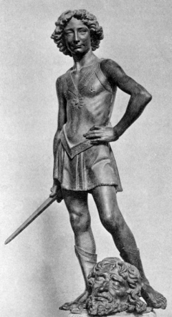 "Leonardo da Vinci as the model for David in Andrea del Verrocchio's ""'David and Goliath"""