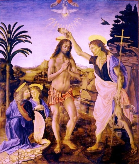 The Baptism of Christ (1472–1475) by Andrea del Verrocchio and Leonardo da Vinci (Uffizi Gallery, Florence, Italy).