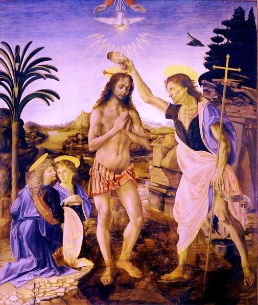 The Baptism of Christ (1472–1475) by Andrea del Verrocchio and Leonardo da Vinci (Uffizi Gallery, Florence, Italy).