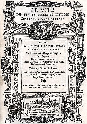 Title page of the 1568 edition of the Vite (Source: Wikipedia)