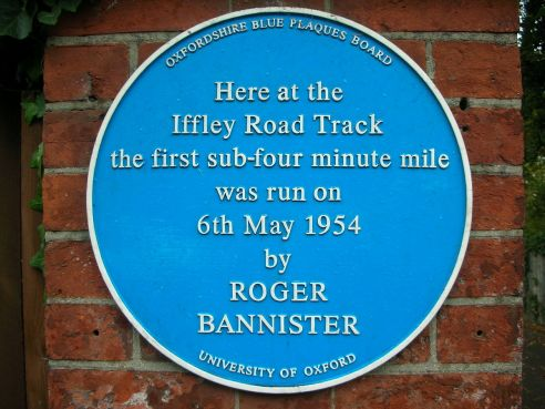 Blue plaque recording the first sub-4-minute mile run by Roger Bannister on 6 May 1954 at Oxford University's Iffley Road Track. (Photograph by Jonathan Bowen)
