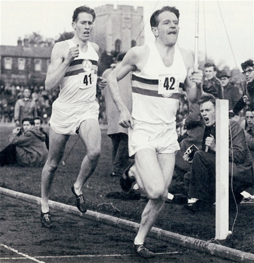 Chataway (#42) takes Bannister (#41) into the bell lap at 3:00.7 (Source: racingpast.ca)