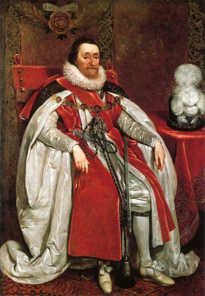 King James VI and I. Portrait by Daniel Mytens, 1621.