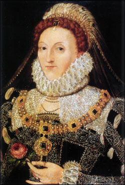 Queen Elizabeth, c.1575-1578. Painting attributed to Nicholas Hilliard. Anglesey Abbey.