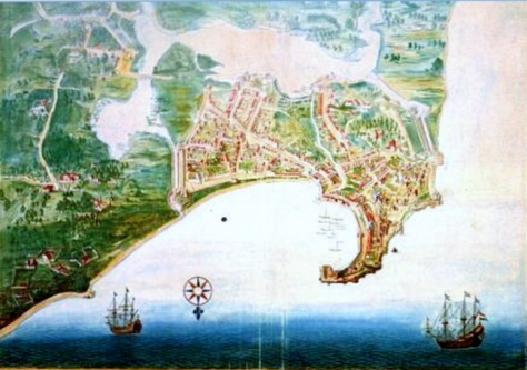 Bird's eye view of Colombo. Mid-17th Century water colour painting. The Vingboons-Atlas, ARA, The Hague.