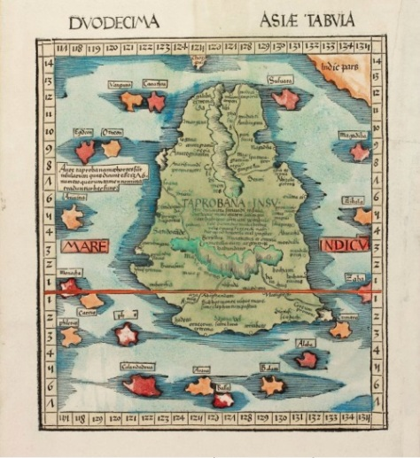 Early handcoloured woodcut 1513 map of Ceylon from M. Waldseemuller (Source: vintage-maps.com)