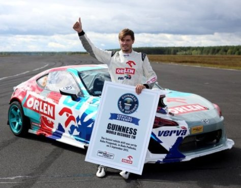 Jakub Przygoński of Poland, Guinness World Record  holder for Fast vehicle drift driver (Source:  shockmansion.com)