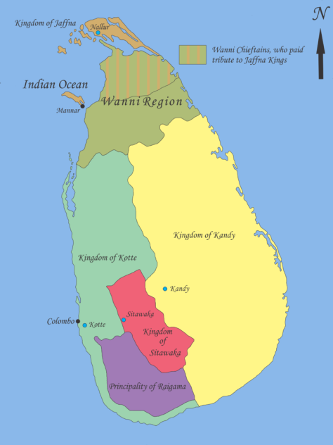 Map showing geopolitical situation in Sri Lanka in the early part of 16th century after the 'Spoiling of Vijayabahu' in 1521. (Source: Nishadhi/Wikimedia Commons)