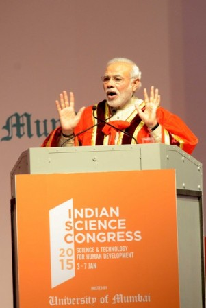 Mumbai: Prime Minister Narendra Modi inaugurating 102nd Indian Science Congress 2015 at the Mumbai University on Jan. 3, 2014. (Photo: Sandeep Mahankal/IANS)