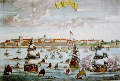 'Negapatnam van Choromandel', 18th century Dutch engraving of Nagapattinam after original engraving by Johannes Kip c. 1680