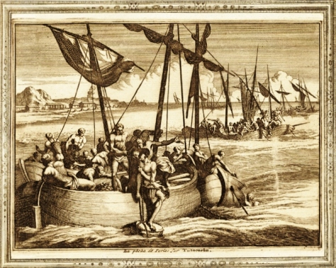 'Pearl fishing on the coast of Tuticorin by Paravars using thoni' from 'La galerie agreable du monde. Tome premier des Indes Orientales.', published by P. van der Aa, Leyden, c. 1725 (Source: columbia.edu)