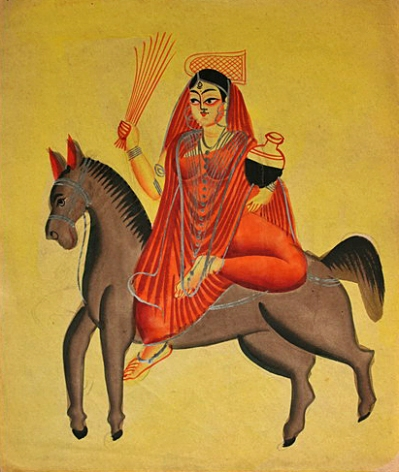 Picture of Shitala Devi, the goddess of sores, ghouls, pustules and diseases. From 3rd quarter of 19th century.