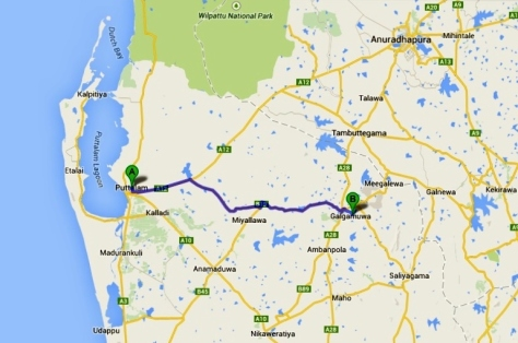 Route from Puttalam to Galgamuwa (Google maps)