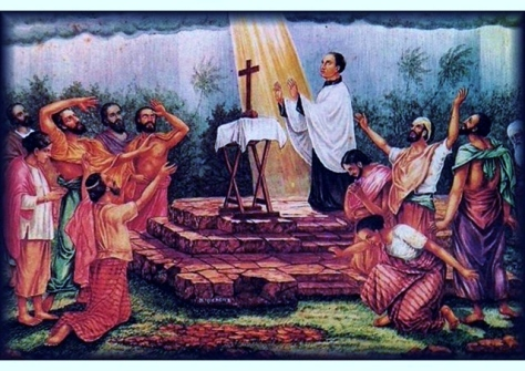Saint Joseph Vaz praying for rain during the drought of 1696 in Kandy (Source :en.radiovaticana.va)
