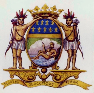 Flag of the French East India Company's coat of arms. The motto reads FLOREBO QUOCUMQUE FERAR ('I will flourish wherever I will be brought')