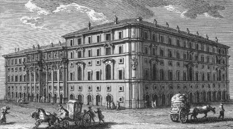 The headquarters of the Propaganda Fide in Rome. North facade on Piazza di Spagna by architect Bernini, the southwest facade seen here by Borromini. (Etching by Giuseppe Vasi, 1761)