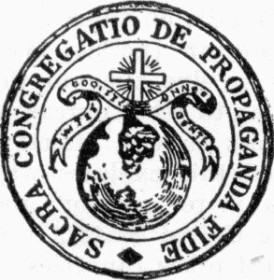 The seal of the Sacra Congregatio de Propaganda Fide  (Source: saints.sqpn.com)
