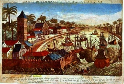 Town of Colombo on the large pleasant Island of Ceylon which is rich in Cinnamon. Mirror image engraving afterSchouten's view which looks on the harbour directly from the north.