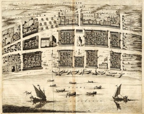 View of the Dutch port Tuticorin, Coromandel Coast, India in 1672.  'Tutecoryn' by Philip Baldaeus, from 'Nauwkeurige beschrijving Malabar en Choromandel, derz. aangrenzend rijken, en het machtige eiland Ceylon', Amsterdam, 1672. (Source: columbia.edu)