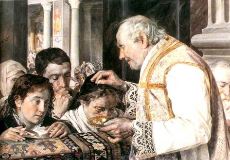 An 1881 Polish painting of a priest sprinkling ashes on the heads of worshippers by Julian Fałat (1853 - 1929).