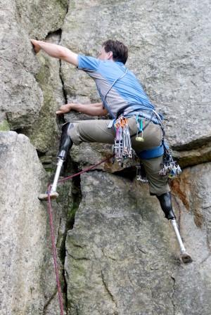Hugh Herr climbing High Exposure in Mohonk Preserve an hour south of Albany on the cliffs called The Gunks. (Source: jothyrosenberg.com)