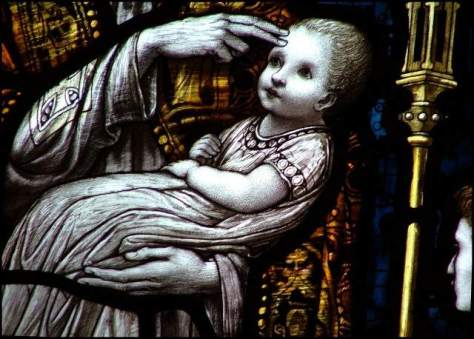 Infant baptism, in stained glass (Source: lonelypilgrim.com)