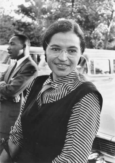 Rosa Parks, an international icon of resistance to racial segregation.