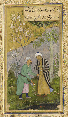 Saadi in a Rose garden, from a Mughal manuscript of his work Gulistan, c. 1645